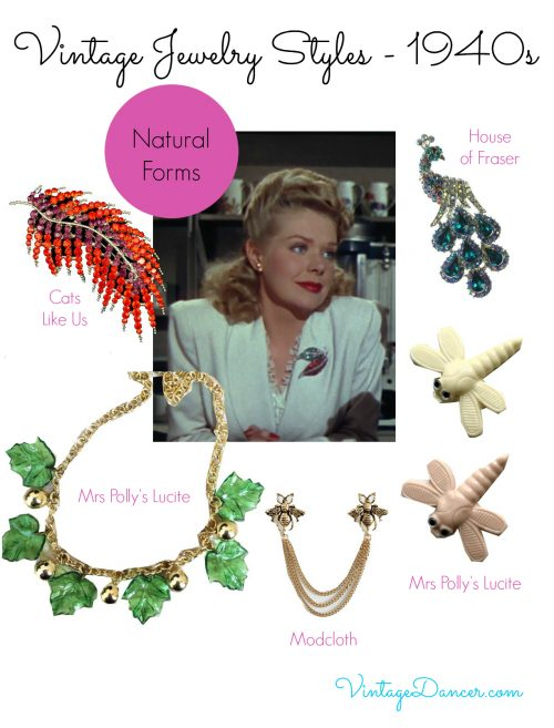 1940s jewelry trends: Nature was again a source of inspiration in jewelry design during the 1940s. Learn more at VintageDancer.com/1940s
