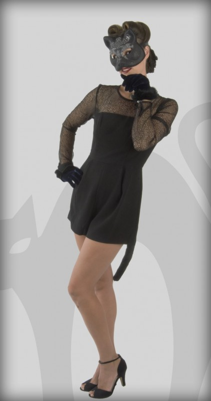 1940s pinup black chat Halloween costume. A fun and sexy idea. Get this look and other retro Halloween costume ideas at VintageDancer.com