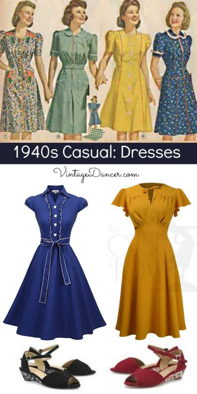 1940s day dresses outfits with shoes