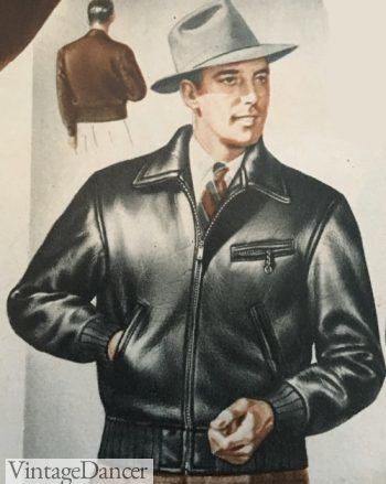 1940s men's fashion- grey fedora hat and a black leather jacket. Casualness and traditional hats didn't seen well paired by the young 1940s men