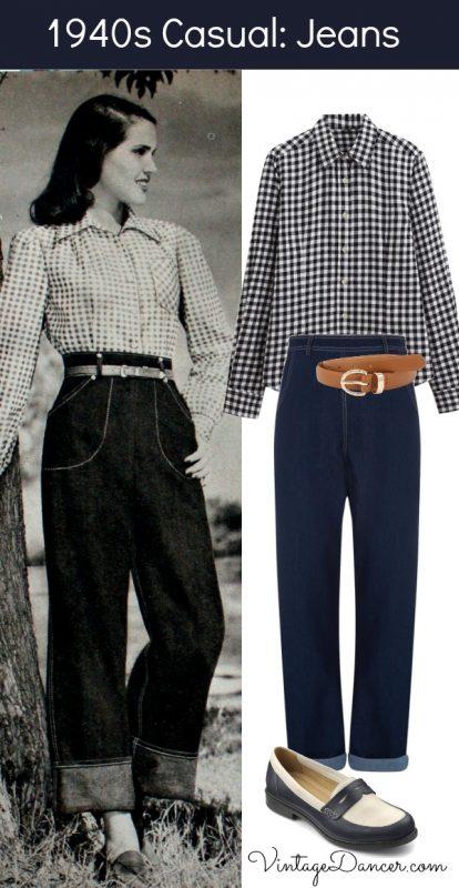 1940s Women's Outfit Inspiration Jeans  AT vintagedancer.com