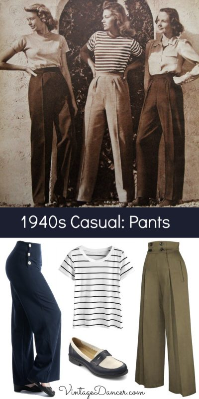 1940s casual outfits with pants or trousers