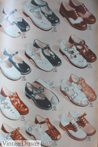 1940s childrens shoes in white, bown, and black