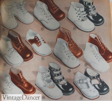 1940s childrens baby shoes in white, brown, and black at VintageDancer
