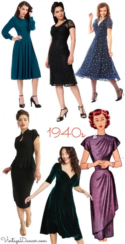 1940s party dresses, cocktail dress, short evening dresses at VintageDancer