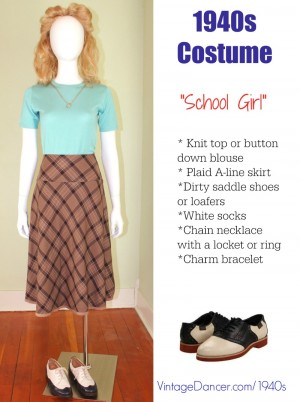 1940s teenager costume- plaid skirt, knit top, saddle shoes