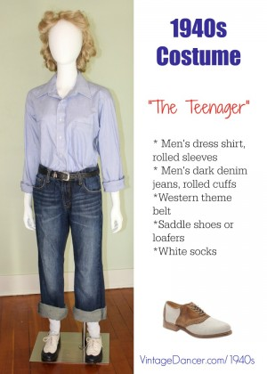 1940s Casual Teeneger Costume: Denim rolled jeans, men's button down shirt, saddle shoes