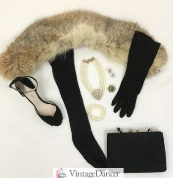 My 1940s evening accessories: fur wrap, peep toe ankle strap heels, black stockings, long gloves, clutch bag, and pearl jewelry.