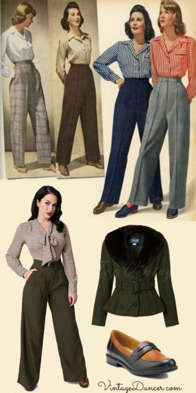 1940s high waisted pants, bow blouse, belted jacket, and casual Dorset loafer shoes