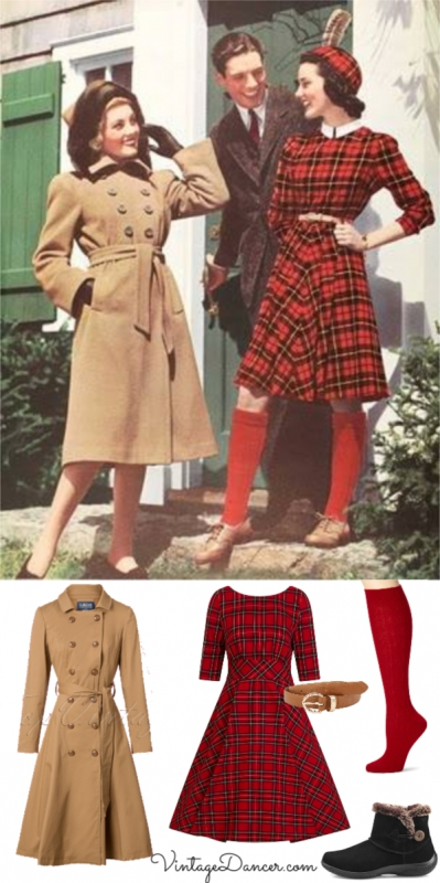 1940s fall outfit: Red plaid dress, knee high socks, tan trench coat and warm winter boots