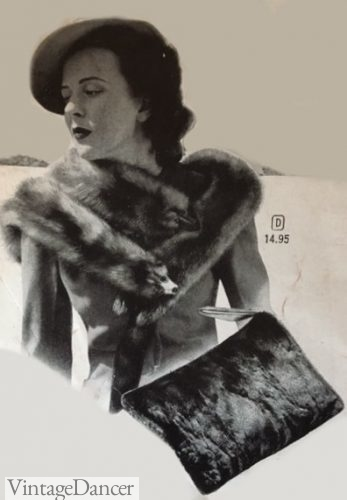 1940s animal fur stole and matching bag
