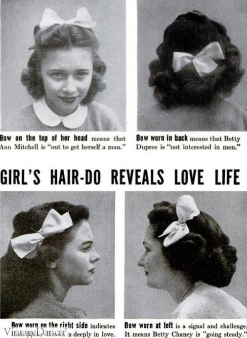 The 'language' of hair bow placements from the early 1940s.