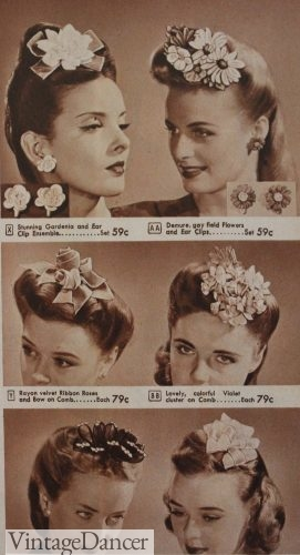Sears advertisement for girl's hair flowers and hair accessories
