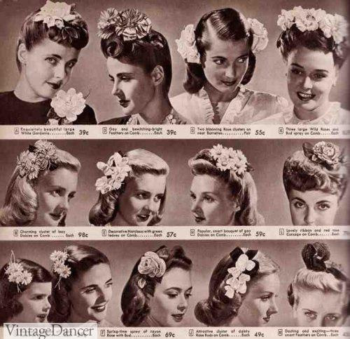 1940s hair flowers clips
