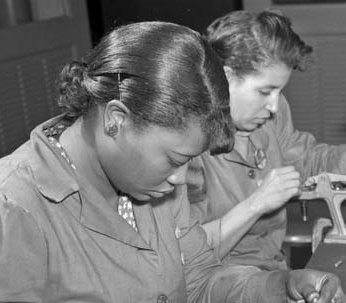 1940sc black women, Rosies, Working women with longer hair pulled back