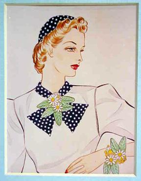 1940s Flower Jewelry brooch and bracelet by Haskel.