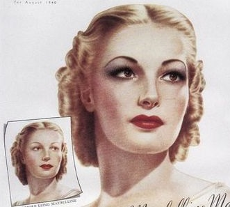 1940-1941 hairstyle- smooth finger waves on top, rolled curls to the back
