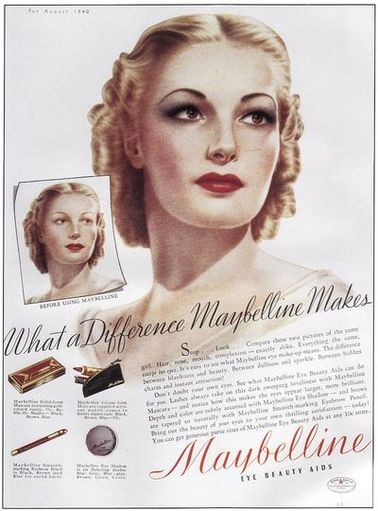 1940s evening makeup compared to a lighter day look using more eye shadow and darker colors.