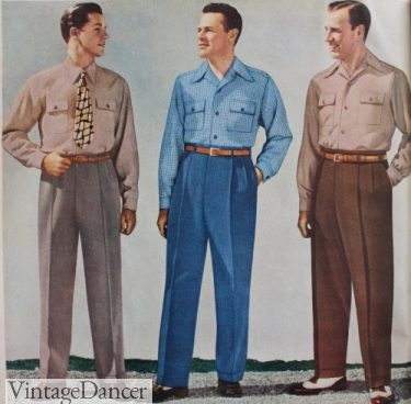 1940s mens casual pants and sport shirt outfits