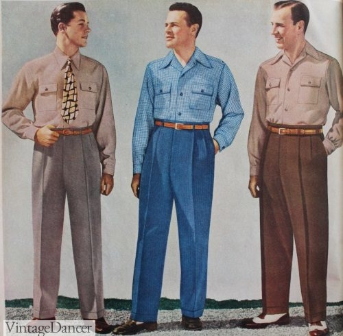 1940s men's casual clothing- pants and shirts