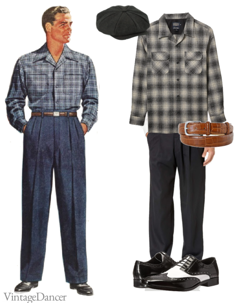 1940s men's casual outfit with reproduction shirt, trousers, and shoes. New cap and belt.