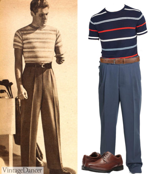 1940s mens casual outfit - 1940s stripe knit shirts with trousers