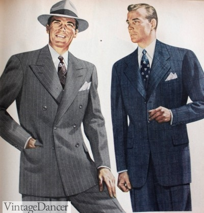 1940s mens suits fashion with pocket sqaures