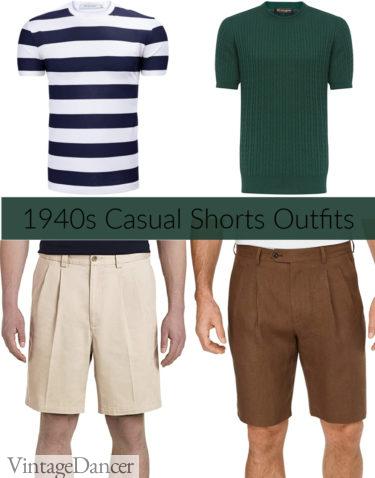 1940s mens outfits, summer Short and T-shirts (knit shirts)
