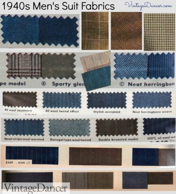 Men's 1940s suit and sport coat fabrics in detail. Learn more at VintageDancer.com