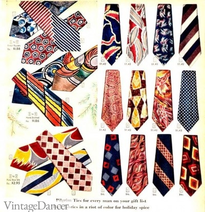 Vintage 1940s mens neckties