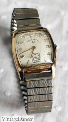 1940s men's watch. My grandfathers watch from the 1940s. Gold face with steel brand.