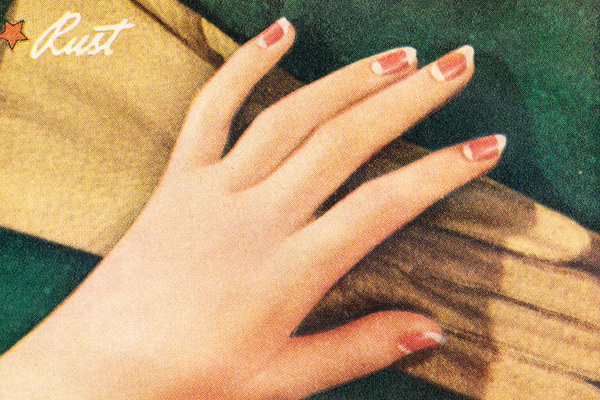 1940s nail polish manicure -1940s nails with a a half moon exposed