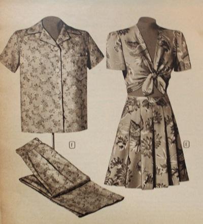 1940s Playsuit style pajama next to regular box cut pajamas