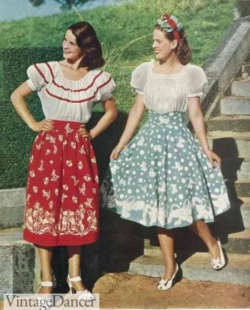 1940s peasant skirts and blouses
