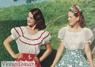 Peasant tops for dirndl skirts 1940s
