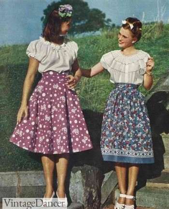 1940s novelty print skirts with peasant tops