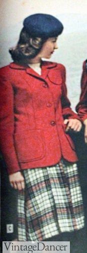 1947 plaid skirt and red casual jacket