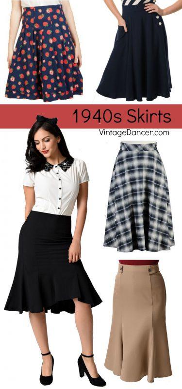Shop 1940s style skirts at VintageDancer.com/1940s
