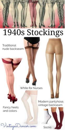 Shop 1940s backseam stockings, nylons, tights, and pantyhose at VintageDancer