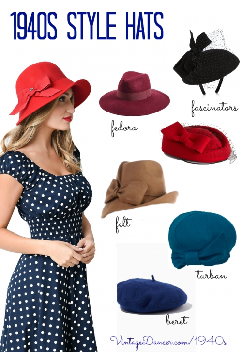 New women's hats inspired by 1940s hat fashions. Fedora, turban, beret, felt hats, and fascinators. Find these and more at VintageDancer