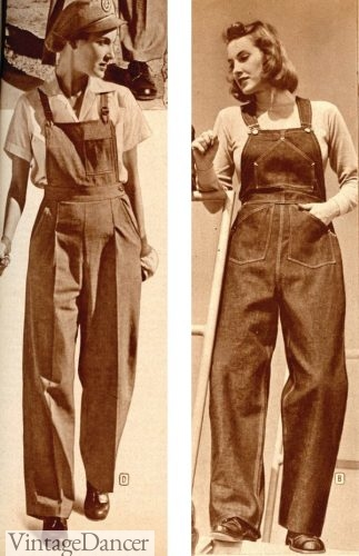 1940s Working Women's Denim Overalls , 1944