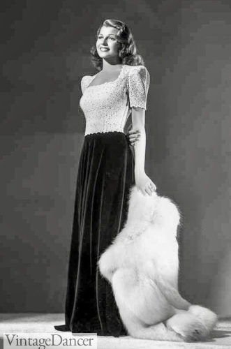 1941 black and white gown