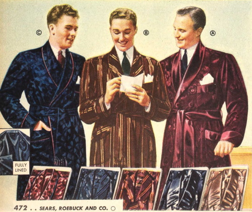 1941s men's silk or rayon robes