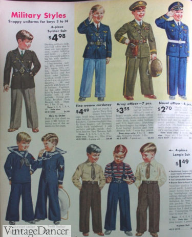 Wartime efforts affect children's fashion with these 1942miitary style uniforms available for boys