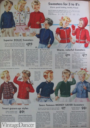 assorted knit tops and sweaters for younger boys and girls in 1942