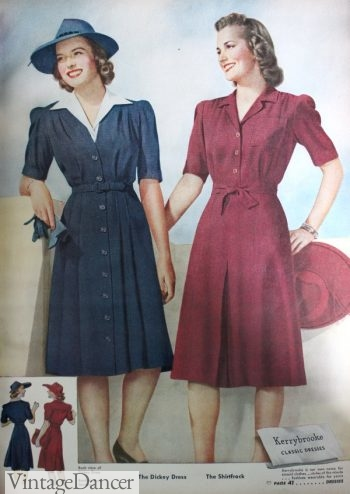 1940s Button Down Dress and Shirtwaist Dress