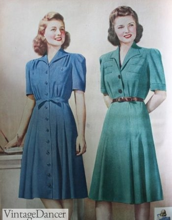 1940s Sears Shirtwaist and Button Down Dresses 1942 1943