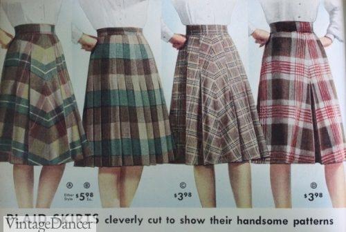 1940s skirts, plaid a line classics
