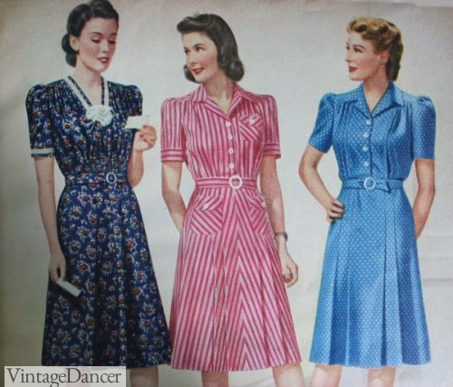 1940s Day dress, right two are Shirtwaist Styles