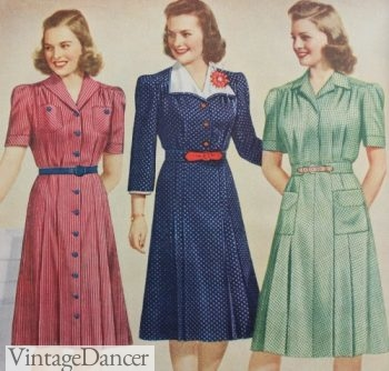 1942 contrasting belts on dresses matched other details such as buttons